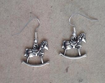 Rocking horse, earrings silver