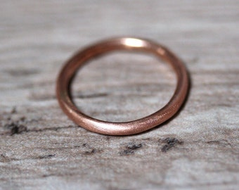 Women's 2mm Round Gold Wedding Band, Pudgy Round Recycled 14k Rose Gold Ring Brushed Pink Gold Wedding Ring or Stacking - Made in Your Size