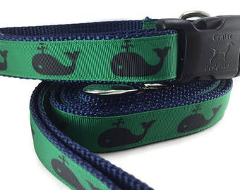 Dog Collar and Leash, Whales, 6ft leash, 1 inch wide, adjustable, quick release, metal buckle, chain, martingale, hybrid, nylon