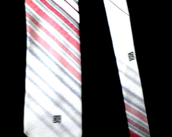 Luxurious vintage 80s pastel grey necktie with burgundy white and grey stripe. Made by Givenchy, Paris.