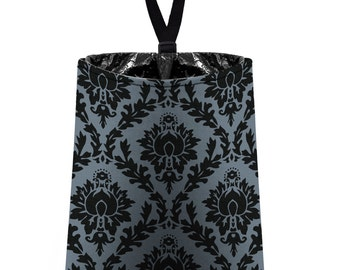 Car Trash Bag // Auto Trash Bag // Car Accessories // Car Litter Bag // Car Garbage Bag - Damask - Dark Grey and Black // Car Organizer