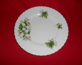 "One (1), 8 1/8"" Salad Plate, from Royal Albert, in the Trillium Pattern."