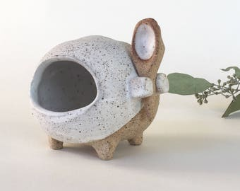 Speckled Clay Creature Salt Cellar With Spoon | Unglazed Footed Sculpture Salt Pig | Abstracted Animal Salt Holder
