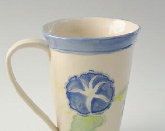 Handbuilt Pottery Mug - Hand Painted Morning Glories - Handmade Pottery - Ceramic Coffee Cup - Stoneware Mug - Ceramic Tea Cup - Floral  Mug
