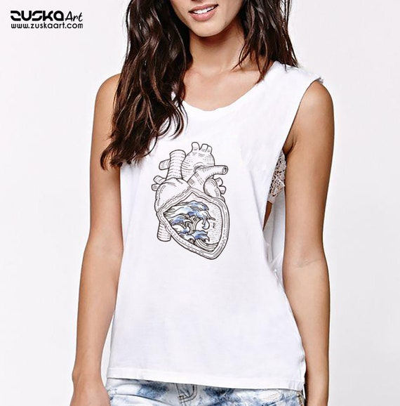 Ocean Heart | Women Sexy and Flowy Muscle Tank Top | Graphic tank top | Tattoo style |Original Artwork| Pen and Ink Waves | Anatomical Heart