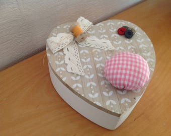 Heart shaped wooden sewing box