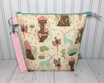 Mid Size with Handle Zipper Top Knitting Crochet Project Bag - Woodland Nymphs