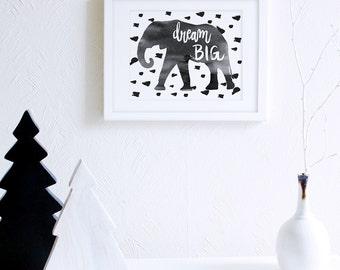 Dream Big Elephant Art Printable, Modern Nursery Decor, Elephants Watercolor Nursery Decor, Scandinavian Nursery, Monochrome Art Printable