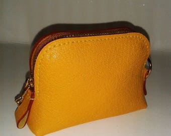 Yellow - mixed goat leather purse.