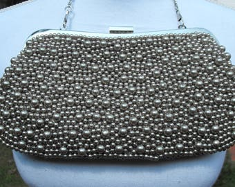 Vintage 1980's - 1990's Beaded Clutch / Top Handle Bag / Wedding Bag / Holiday Bag / Special Occasion Bag / Beaded Purse