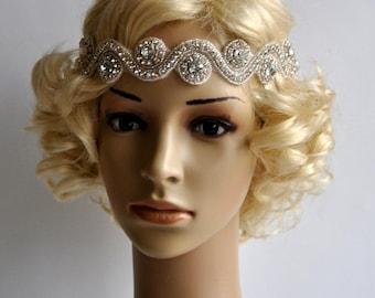 Rhinestone Headband, Wedding Headband, Wedding Bridal Headpiece, Headpiece, 1920s Flapper great gatsby headband