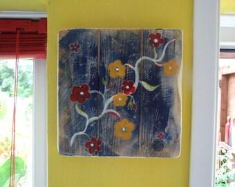 Red & Orange flowers Denim effect painting on wood Original