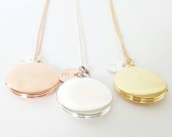 Personalized Rose Gold Locket - Initial Locket - Gold Bridesmaid Locket - Flower Girl Locket -Childrens' Locket -Bridesmaid Necklace -Silver