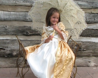 Girls French Colonial Elizabeth Swann Marie Antoinette Catherine the Great Costume Gown gold ballgown historical, France, international, new