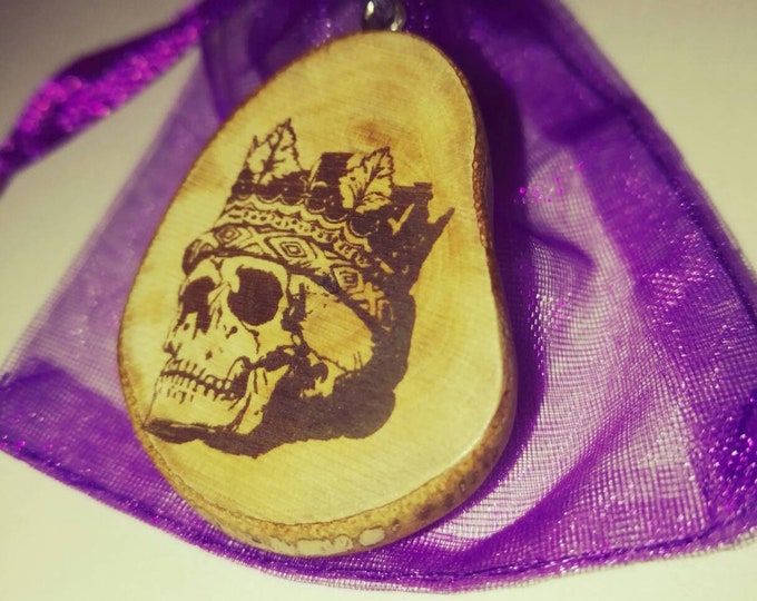 Crowned Skull crown Necklace Earrings Wooden Charm Eco Friendly Handmade Personalised Charms Wood Hand made Jewellery #Etsy