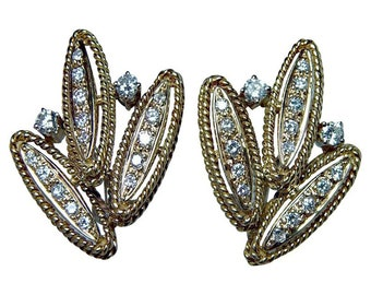 Vintage 18K Gold Diamond Earrings Estate Opulent circa 1960s