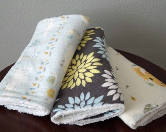 Gender Neutral Baby - Burp Cloth set of 3 - Safari Animals & Flowers - Blue, Yellow, Gray - Neutral Burp Cloths
