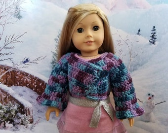 Razzleberry Ombre Crocheted Cardigan SWEATER for 18in dolls like American Girl
