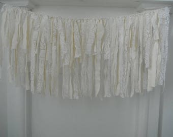 cottage chic rag garland lace and cotton garland cream garland wedding decor nursery decor window valance white lace bedroom decor 3 feet