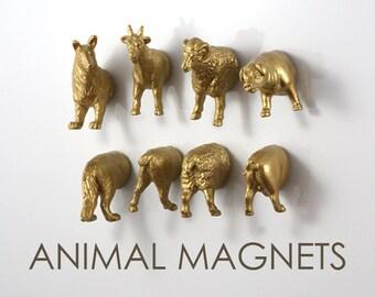 Gold Farm Animal Magnets for Housewarming - 8 piece set - Gold Sheep Dog Pig Goat (Ram)