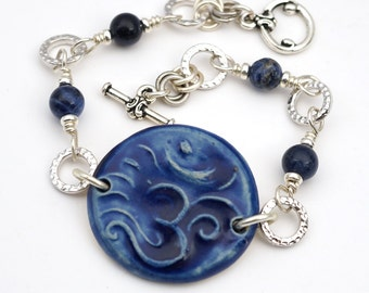 Cobalt blue om bracelet, sodalite beads, silver, yoga jewelry, 7 1/2 inches long