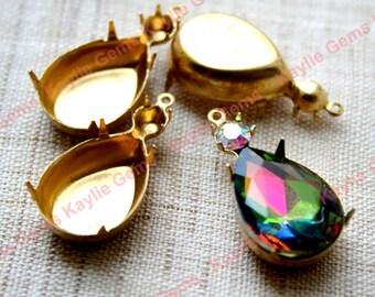 18x13 Tear Drop Pear Prong Setting Rhinestone SS20 Dual Jewel Mounting Close Back Case - 4 pcs