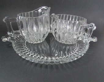 VINTAGE sugar bowl and creamer with glass tray, vintage Clear Glass Tray With Sugar And Creamer / vintage Clear Glass Creamer And Sugar