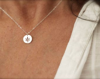 Cannabis disc necklace - cannabis cut out coin necklace - marijuana pendant - weed disc  - 420 circle cut out leaf necklace