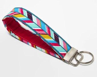 Fabric Keychain, Key Fob, Handmade Wristlet Strap - Bold Tribal Herringbone - Magenta, Pink, Aqua, Purple