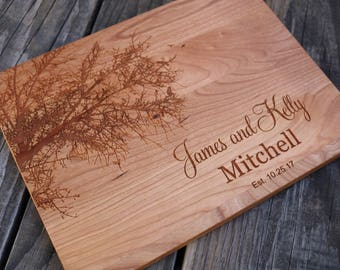 Engraved Cutting Board Personalized Cutting Board Tree Cutting Board Engraved Gift Cutting Board Wedding Gift Wood Cutting Board Anniversary