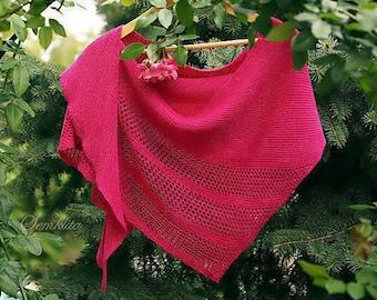 Knitted shawl wrap, oversized lace shawl, merino wool shawl, triangular shawl, pink shawl, triangle scarf, gift for her, women accessory