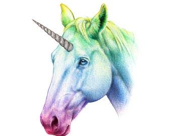 Rainbow Unicorn  - A5 art print - glitter sparkly silver prismatic magical fantasy fairy tale horse nursery giclee wall art
