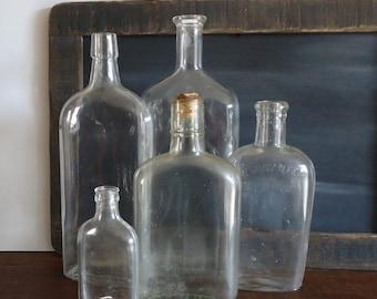old bottles flasks set of 5 vintage glass bottles, vintage bar decor Flask bottles, medicine bottles