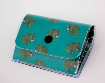 Handmade Vinyl Accordion Wallet - Henry Wolf / small wallet, snap, cute, card case, vinyl wallet, women's wallet, wolf, wolves, woodland
