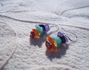 Rainbow Chakra Natural Gemstone Earrings, Sterling Silver Ear Wire