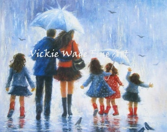 Four Sisters Art Print, four daughters, four girls, father mother, rain people,rain family, blue wall art, umbrellas, Vickie Wade Art
