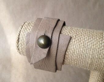 Tan Leather Wrap Bracelet w/ Metal Button Closure