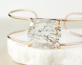 Rose Gold Dendritic Quartz Cuff Bracelet - Cushion Cut Quartz - Cuff Jewelry