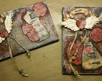 """Dedicated to """"Mom"""" mixed media mini plaque magnets"""