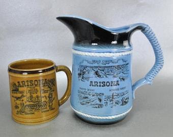 Arizona Landmarks Souvenirs Blue Ceramic Pitcher and Brown Mug Vintage Japan