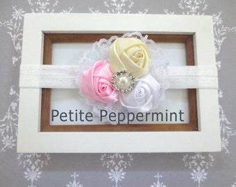 White Baby headband, baby girl headband, newborn headband, toddler headband - White Baby Flower Headband