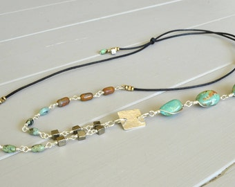 Turquoise Nugget Necklace, Natural Stone Necklace,  Boho Necklace, Adjustable Necklace