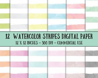 Watercolor Stripes Digital Paper - Watercolor Digital Paper - Commercial Use - Striped Digital Paper - Instant Download - Watercolor Paper