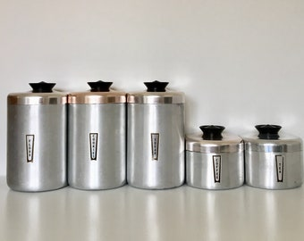 Vintage Set Of 5 Kromex Aluminum Canisters, Flour, Sugar, Cookies, Coffee, Tea. Kitchen, Counter, Made In The USA.