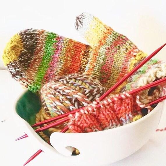 Yarn Bowl Elegant Turquoise and White Porcelain Pottery Yarn Keeper Yarn Feeder Knitting Bowl Stunning MADE TO ORDER