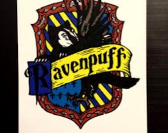 Ravenpuff Cross-House Crest Vinyl Sticker
