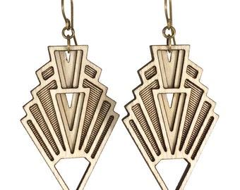 VISION | art deco earrings, art deco inspired earrings, arrowhead dangle earrings: laser cut wood earrings