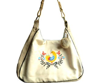 blue leather and Scandinavian embroidery Bohemian shoulder bag