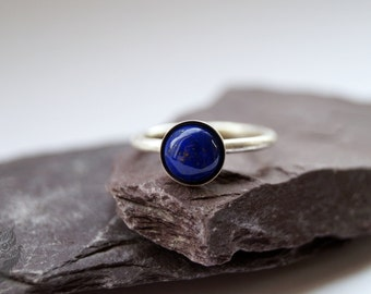 Lapis Lazuli Sterling Silver Ring ~ statement ring, stacking ring, gemstone ring, solitaire ring
