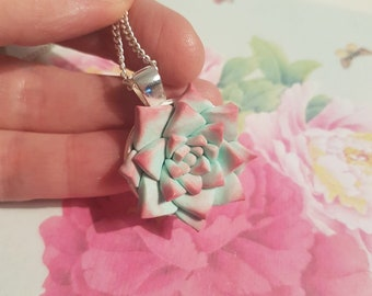 Polymer clay succulent necklace